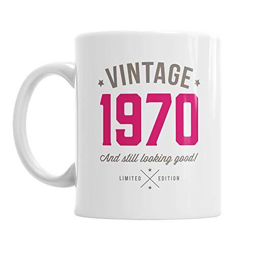 50. Geburtstag, Geschenk zum 50. Geburtstag, 50. Geburtstag Geschenke für Herren, zum 50. Geburtstag Geschenke für Frauen, 1966Geburtstag, Vintage 1966, Kaffee Tasse, keramik, rose