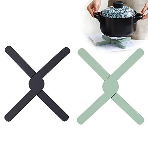BOJLY Lot de 2 Dessous de Plat en Silicone en Forme de Croix pour Les Plats Chauds, Pliable Antidérapant et Anti-Chaleur 430°F