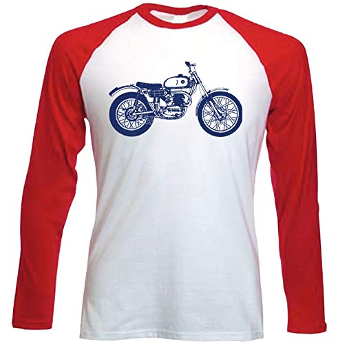 Teesandengines Bultaco Sherpa Camiseta de Mangas roja largas t-Shirt Size Large