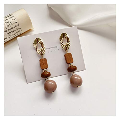 Fashion All-match Retro Geometric Spherical Earrings Gift Accessories Girl Women's Jewelry Bohemian Long Brown Wood Earrings (Color : Brown)