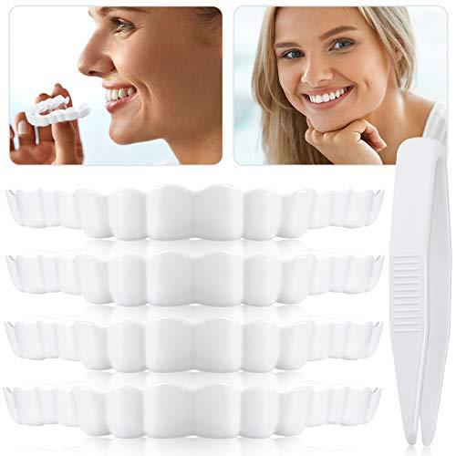 8 Pieces Instant Veneers Dentures Fake Teeth Smile Serrated Denture Teeth Top Fake Teeth with Mini White Tweezers for Men and Women