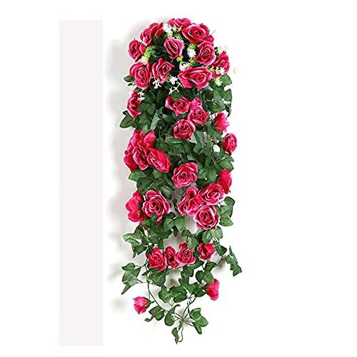 YANHUIG Flor Artificial Rattan Fake Plant Vid Decoración de la Vid Colgando Rosas Decoración para el hogar Accesorios Boda Decorativa Guirnalda (Color : Rose Red)