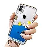 アイフォン XR ケース 流れる 液体カバー 動く 海豚 面白い ブルー液体 ソフト クリア iPhone XR 携帯電話ケース (iPhone XR, Yellow duck 3)