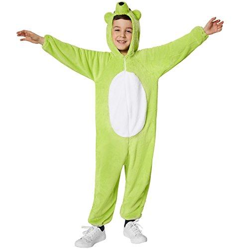 dressforfun 900323 - Kinderkostüm Grüner Bär, aus weichem Plüschstoff, Kapuze mit Nase, Augen und Ohren (128   Nr. 301556)