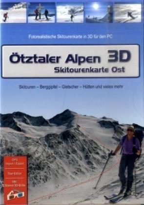 Ötztaler Alpen 3D - Skitourenkarte Ost. Für Windows Vista / XP /2000: Fotorealistische Wander- und Mountainbikekarte in 3D für den PC. Tourenbeschreibungen - Hütten - Orte - Berggipfel - Seen und vieles mehr