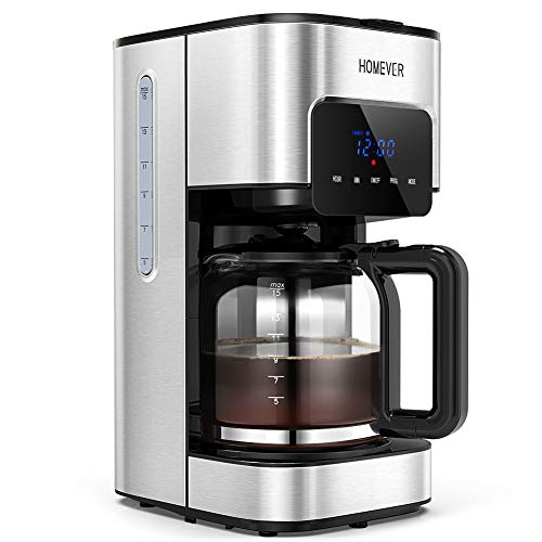 HOMEVER Filter Coffee Machine, 24hr Programmable Filter Coffee Maker with Timer, Programmable Coffee Machine with Anti-drip System, Reusable Washable Mesh Filter and Warming Plate, Silver