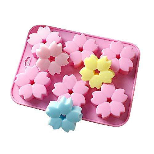 Doitsa 1pcs Moule à Cake Forme de Fleur de Cerisier 6 Cavités pour Fabrication de Gelée au Lait, Dessert, Gâteau, Candy, Chocolate, Biscuits, 23 * 17 * 2.4cm, Rose