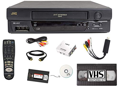 JVC VCR VHS Transfer Bundle w/Remote, USB Adapter, HDMI Converter (Composite AV)
