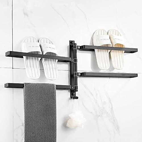 DO-MF 180°Drehung Handtuchhalter Wandmontage, Handtuchhaken Bad,Slipper Rack,Aufbewahrung von Badeschuhen, Handtuchhalter mit 4 Armen für Bad und Küche