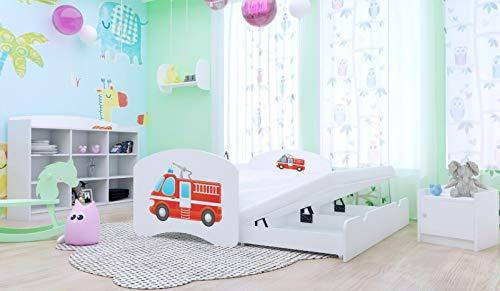 HBD Doppelbett mit 2Liegeflächen 2Matratzen FEUERWEHR verschiedene Variante (200x90 cm, Weiß)