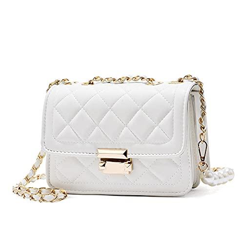 Bolsa de Cadena Xiaofue Bolsa Diagonal de Las señoras de Las señoras-Hebilla de Plata Blanca