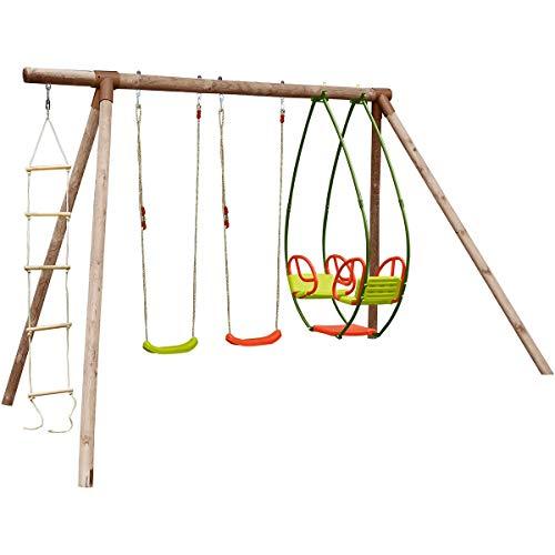 SOULET – Zanzibar Holzständer – 2 Schaukeln – Schaukel – Seil – Struktur aus Kiefernholz – bis zu 5 Kinder – L 3,47 m x 2,05 m x 2,35 m
