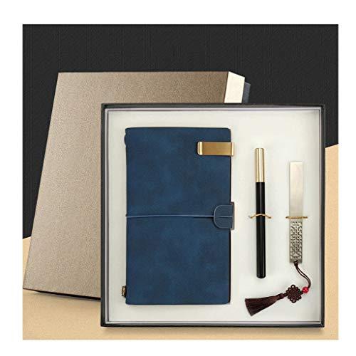 WPBOY Cuaderno A6, caja de regalo, para notas, notas, negocios, oficina, aprendizaje, diario, color azul, talla A)