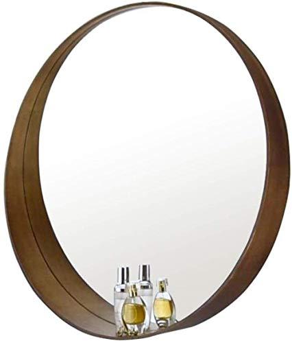 Badkamerbenodigdheden Opbergrek Grote Houten Framed Spiegel met Plank Drijvend Rond Glas Paneel | Vanity, Slaapkamer of Badkamer 3-16 60cm BRON