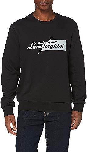 Automobili Lamborghini Felpa Slashed Logo Suter, Negro, S para Hombre