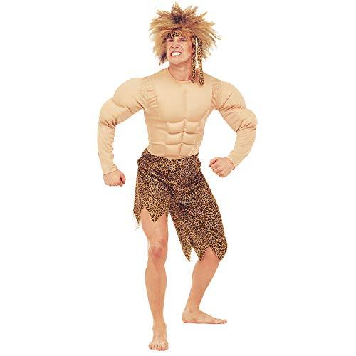 Widmann 32714 - Kostüm Dschungel Mann, Kostüm mit Muskeln und Stirnband, Steinzeitmann, Neandertaler, Karneval, Mottoparty