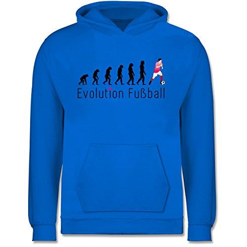 Shirtracer Evolution Kind - Evolution Fußball - 128 (7/8 Jahre) - Himmelblau - Fussball Pullover Kinder - JH001K - Kinder Hoodie