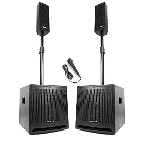 VX1000 Active PA Speaker System with Subwoofers, Mounts and Microphone...