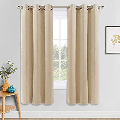 PONY DANCE Beige Window Curtains - Home Decoration Solid Window Treatments Room Darkening Thermal Insulated Blackout Draperies Panels for Living Room, 42 by 72 inches, Biscotti Beige, 1 Pair