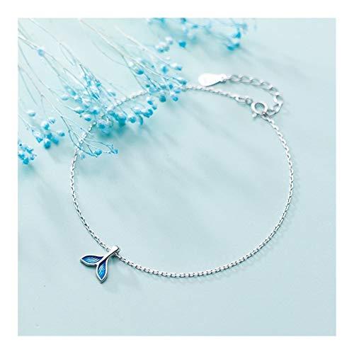 Hkldm Pulsera Azul de la Sirena del océano, la Cola del Goldfish for el Tobillo, Pulsera (Color : Jl004)