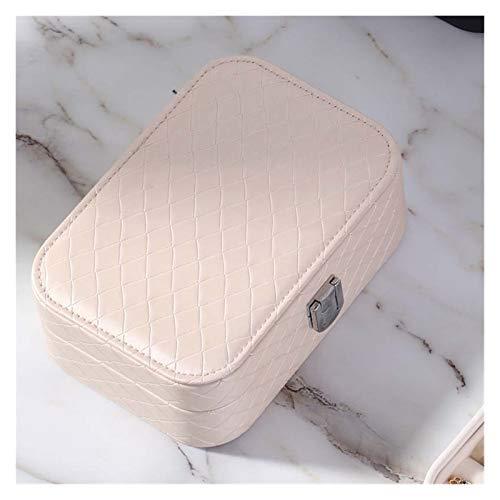 KIILING Caja de joyería PU de Cuero Joyas de Almacenamiento Pendiente de Almacenamiento Packaging Storage Mostrar Caja Organizador para el hogar Travel Girl Regalo (Color : Beige)