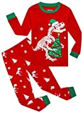 Family Feeling Little Girls Boys Long Sleeve Christmas Dinosaur Red Pajamas Sets 100% Cotton Pyjamas Toddler Holiday Kids Pjs Size 3T