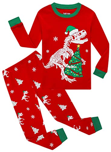 Family Feeling Little Girls Boys Long Sleeve Christmas Dinosaur Red Pajamas Sets 100% Cotton Pyjamas Toddler Holiday Kids Pjs Size 3T