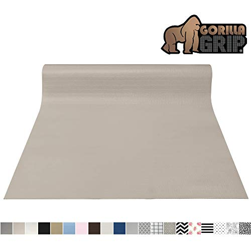 Gorilla Grip Original Smooth Top Slip-Resistant Drawer and Shelf Liner, Non Adhesive Roll, 17.5 Inch x 20 FT, Durable Kitchen Cabinet Shelves Liners for Kitchens Drawers and Desks, Taupe