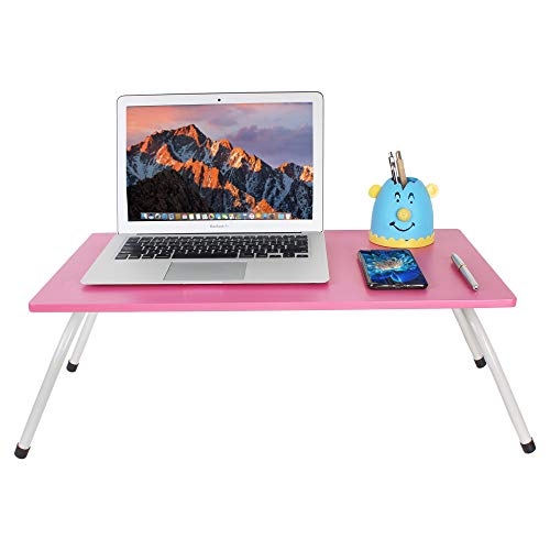 Maverick Multipurpose (Made in India) Laptop/Bed Table with Non-Skid Foldable Legs (Pink, Steel/Pink)