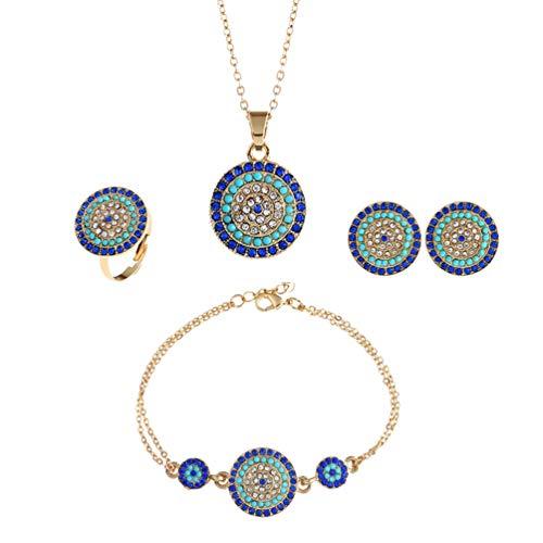 Happyyami Ojo Malvado Collar Pulsera Conjunto Anillo de Cristal Mujer Pendiente Turco Proteger Suerte Collar Delicado Collar para Mujeres Niñas