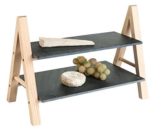 Holz-Etagere Servierplatte Servierständer | Holz mit Schieferplatten | 2-stöckig