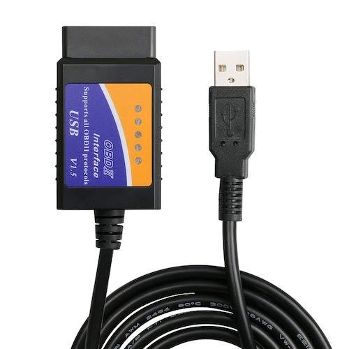 HaiMa Buon Scanner Usb A 16 Pin Obd2 Elm327 V1.5 Miglior Strumento Di Scansione Diagnostica Obd Ii Economico - Nero