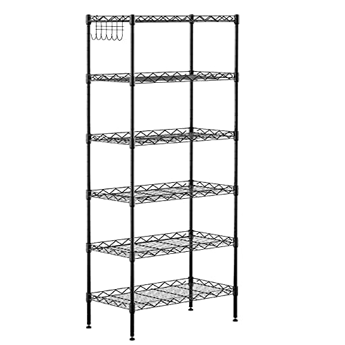 6-Shelf Shelving Storage Unit ,Heavy Duty Metal Organizer Wire Rack with Leveling Feet , Stainless Side Hooks for Bathroom Kitchen Garage 750Lbs Capacity (Black)