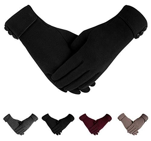 ECOMBOS Touchscreen Handschuhe Damen - Winter Warme Handschuhe Dickes Fleecefutter Elegante Handschuhe Weihnachts Geschenke Für Frauen Mädchen,Einheitsgröße,Schwarz