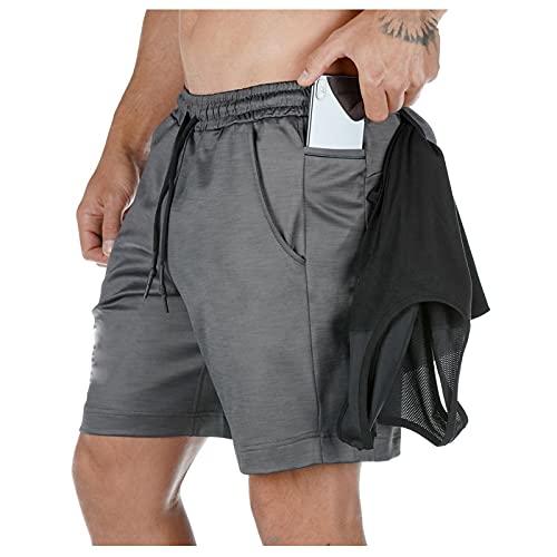 Pantalones Cortos Deportivos para Hombre Pantalones Casuales de Entrenamiento Físico de Verano con Bolsillos Multifuncional