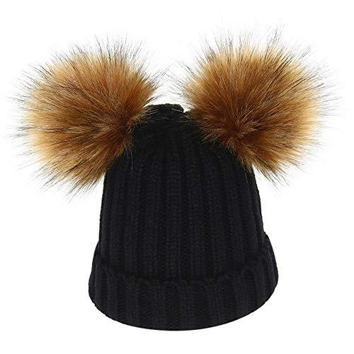 Mamum Bébé Bonnet Tricoté Enfants Garçon Filles Chaud Crochet Chapeaux Hiver Doux Turn-Up Tricot Ski Bonnet Skull Slouchy Caps (Noir)