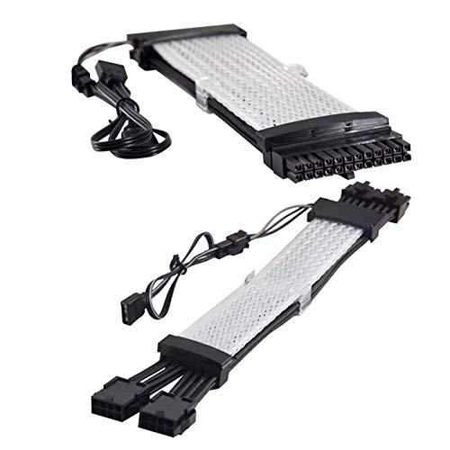 Tamkyo Kit de cable de extensión de 24 pines + 8 P (8+8) Rgb arco iris cable de extensión de soporte 5 V-Argb para decoración de la caja de la PC