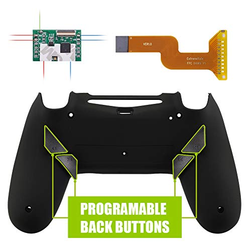 eXtremeRate Dawn Programable Remap Kit for PS4 Controller with Mod Chip & Redesigned Back Shell & 4 Back Buttons - Compatible with JDM-040/050/055 - Soft Touch Black