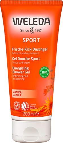 WELEDA Sport Frische-Kick Duschgel Arnika - aktivierende Naturkosmetik Bio Pflegedusche für neue Energie und Entspannung der Haut, erfrischende Reinigung und Pflege für Körper und Gesicht (1x 200 ml)