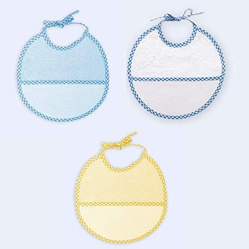 Ti TIN - Pack 3 Baberos de Punto de Cruz 100% Algodón con Tacto muy suave, Color Azul, 19x19 cm