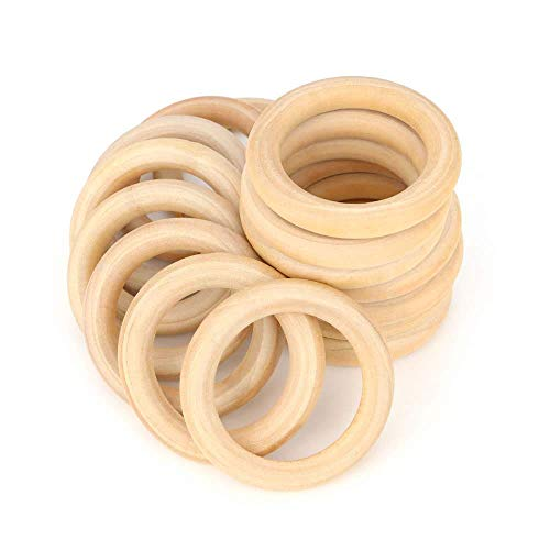 RUBY - 16 Aros de madera natural para manualidades, aros de madera para artesanías (Ø 68 mm)