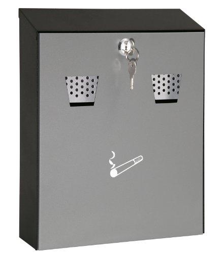 Wedo 17035112 Wandascher kompakt (Füllmenge 3,1 l Pulverbeschichtetes Stahlblech) grau/schwarz