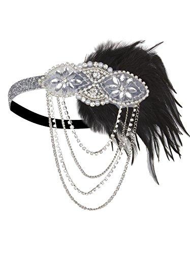 VIJIV Silver 1920s Flapper Headband Accessories Gatsby Style 20s Headpiece