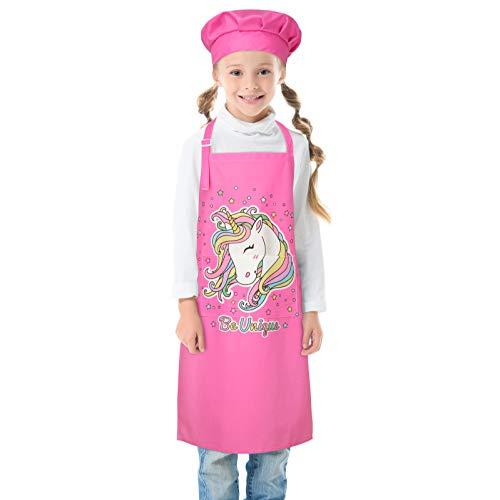 Beinou Delantal infantil ajustable para niños, diseño de tiburón unicornio con 2 bolsillos para regalo de pintura para cocinar, hornear, cocina