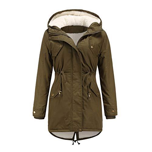 Janly Clearance Sale Abrigos de invierno para mujer, abrigo con capucha y cordn clido dentro de forro polar acolchado con cremallera delgada, para mujer Outwear (verde-XL)