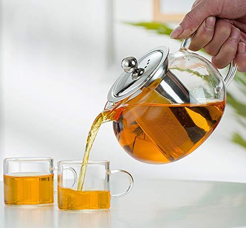 JAMETAI Tetera de Cristal con infusor de Acero Inoxidable, 1400 ml, Cristal de borosilicato, Tetera de para Hacer té de borosilicato y Hojas Sueltas, Tetera 1.4L