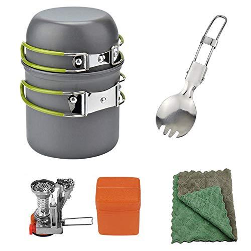 YSCYLY Casseroles Camping Kit,Ensemble de casseroles 1-2 Personnes avec poêle à Vaisselle,pour PêChe/Survie/RandonnéE/Outdoor/Pique-Nique