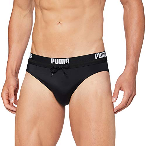 PUMA Mens Logo Men's Swimming Swim Briefs, Black, L