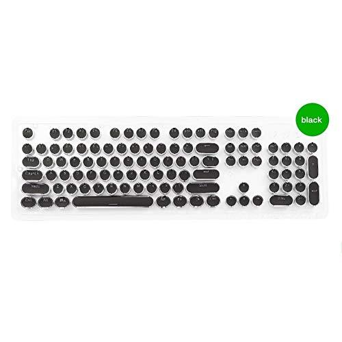 YEZIO Keycaps für Keyboards Keycaps Gaming Mechanische Tastatur mit Fancy Round Key Cap 104 Keys for Spieler Stilisierte Universal (Color : Black)