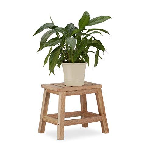 Relaxdays Stegpall trä, fotpall av naturträ, låg blompall för krukor, HBT: 25,5 x 29,5 x 22 cm, naturlig